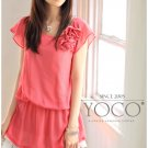 Korean Fashion Wholesale [B2-3628] Elegant Flowers Chiffon Dress