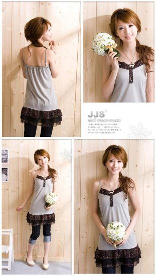 Korean Fashion Wholesale [B2-1390] Cute Little Dress - Gray