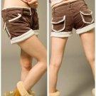 Korean Fashion Wholesale [B2-6237] Shorts - Brown- Size L