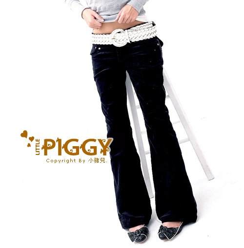 Korean Fashion Wholesale [B2-6228] Corduroy Pants - Black- Size M