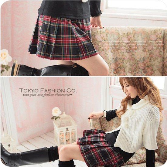 Korean Fashion Wholesale [B2-6263] Red+Black Plaid Skirt