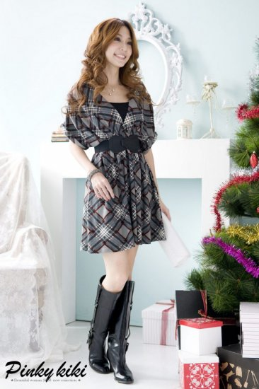 Korean Fashion Wholesale [B2-6260] Lovely Empire Plaid Dress