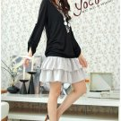 Korean Fashion Wholesale [B2-6258] Pretty Top&Dress Set - Black+Gray