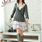 Korean Fashion Wholesale [B2-6258] Pretty Top&Dress Set - Green+Gray