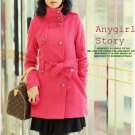 Korean Fashion Wholesale [C2-8003] Luxurious Long Coat - Pink - Size M