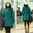Korean Fashion Wholesale [C2-8022] Luxurious Long Coat - Teal - Size L