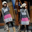 Korean Fashion Wholesale [C2-115] Cute Color Blocks Sweater Dress - Gray