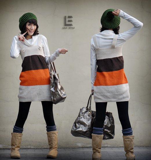 Korean Fashion Wholesale [C2-115] Cute Color Blocks Sweater Dress - White