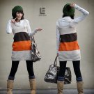 Korean Fashion Wholesale [C2-115] Cute Color Blocks Sweater Dress - White