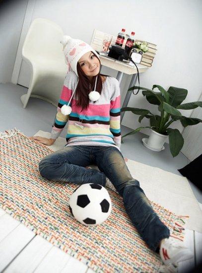 Korean Fashion Wholesale [C2-117] Cute&Warm Colorful Sweater - Gray multi