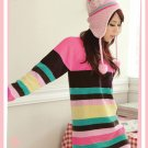 Korean Fashion Wholesale [C2-117] Cute&Warm Colorful Sweater - pink multi