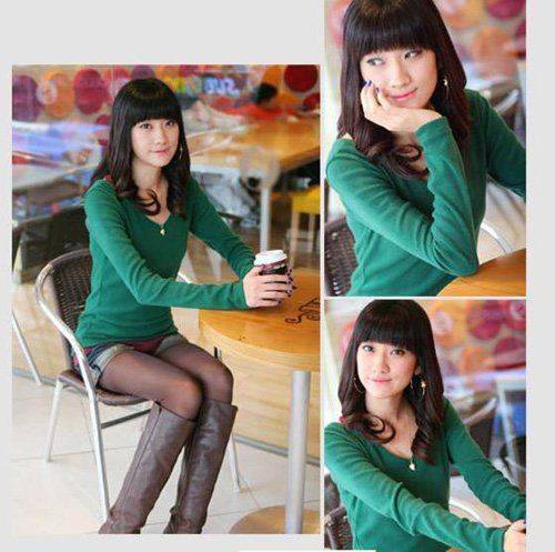 Korean Fashion Wholesale [D2-1053] Soft & Elegant V-neck Long Sleeve Top - green