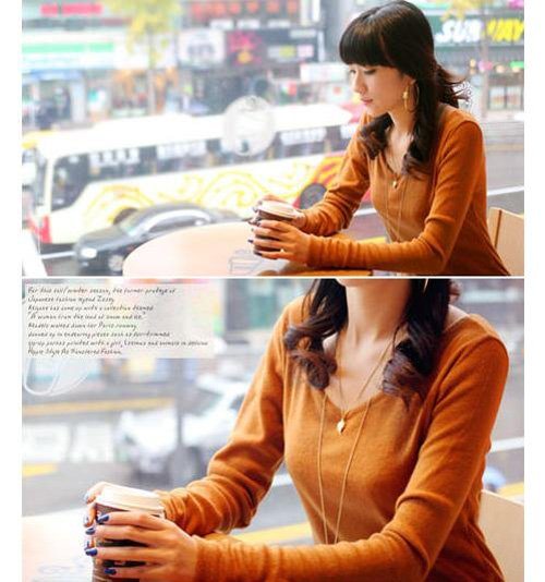 Korean Fashion Wholesale [D2-1053] Soft & Elegant V-neck Long Sleeve Top - orange