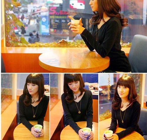 Korean Fashion Wholesale [D2-1053] Soft & Elegant V-neck Long Sleeve Top - black