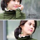 Korean Fashion Wholesale [E2-1104] Elegant Turtle-neck Long Sleeve Ribbed Top - green