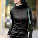 Korean Fashion Wholesale [E2-1104] Elegant Turtle-neck Long Sleeve Ribbed Top - black