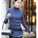 Korean Fashion Wholesale [E2-1104] Elegant Turtle-neck Long Sleeve Ribbed Top - navy