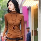 Korean Fashion Wholesale [E2-1104] Elegant Turtle-neck Long Sleeve Ribbed Top - orange