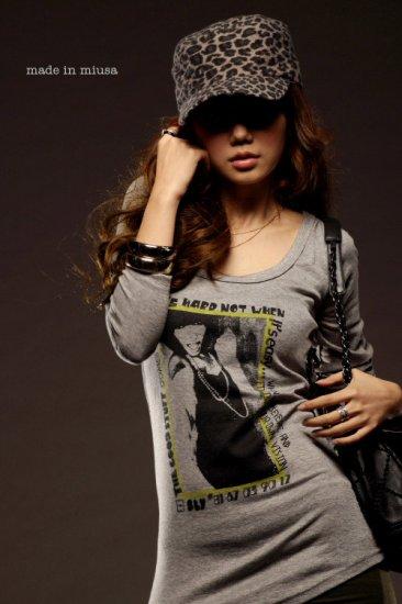 Korean Fashion Wholesale [B2-6252] Stylish Graphic Layered Top - gray