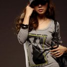 Korean Fashion Wholesale [B2-6252] Stylish Graphic Layered Top - gray