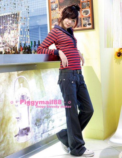 Korean Fashion Wholesale [B2-6227] Stylish Pants -Navy- Size L