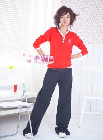 Korean Fashion Wholesale [B2-6248] Fashionable Baggy Pants - Navy- Size M