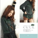 Korean Fashion Wholesale [B2-1602] Luxurious Turle-neck Top + Pretty Chiffon Blouse Set - Green