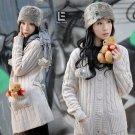 Korean Fashion Wholesale [C2-112] Warm&Pretty Hooded Sweater Jacket