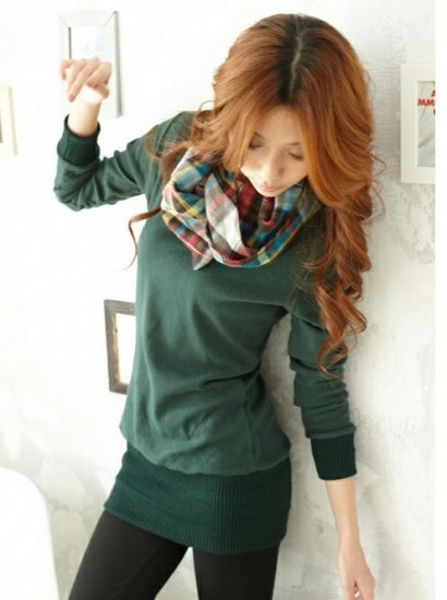 Korean Fashion Wholesale [B2-1571] Stylish&Unique Colorful Scarf Collar Shaping Top - Green