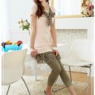 Korean Fashion Wholesale [B2-7084] Cute Colored Lace Leggings - Green