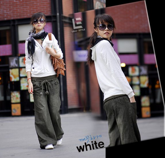 Korean Fashion Wholesale [C2-6099] Baggy Denim Jeans - Green wash