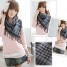 Korean Fashion Wholesale [C2-902] Trendy Must-have Checkered Scarf/Muffler - Black+Gray