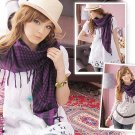 Korean Fashion Wholesale [C2-902] Trendy Must-have Checkered Scarf/Muffler - Black+Purple