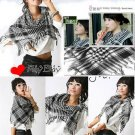 Korean Fashion Wholesale [C2-902] Trendy Must-have Checkered Scarf/Muffler - Black+White