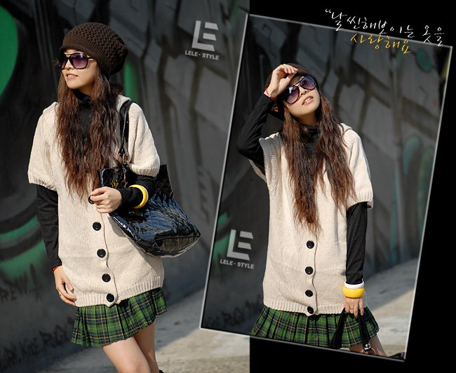 Korean Fashion Wholesale [C2-105] Soft&Warm Hooded Cardigan Sweater - Cream