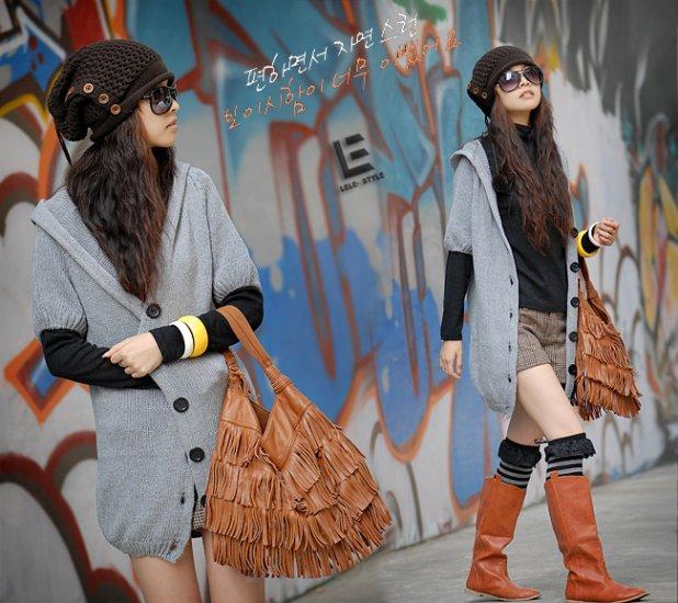 Korean Fashion Wholesale [C2-105] Soft&Warm Hooded Cardigan Sweater - Gray