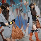Korean Fashion Wholesale [C2-105] Soft&Warm Hooded Cardigan Sweater - Gray