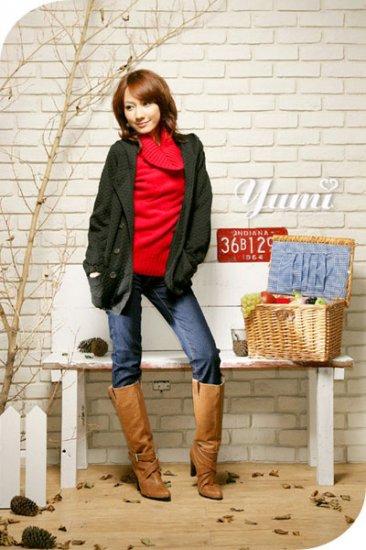 Korean Fashion Wholesale [C2-102] Warm&Pretty Turle-neck Sweater - red