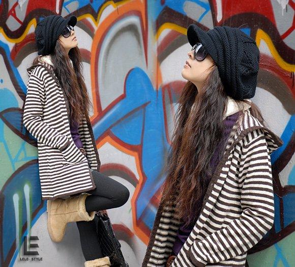 Korean Fashion Wholesale [C2-104] Comfortable Boyfriend Cardigan Striped Sweater - Brown