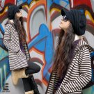 Korean Fashion Wholesale [C2-104] Comfortable Boyfriend Cardigan Striped Sweater - Brown