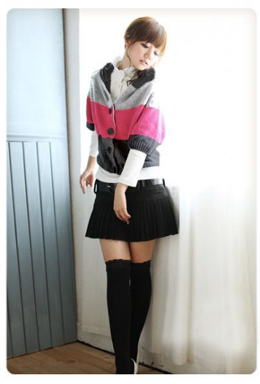 Korean Fashion Wholesale [C2-101] Adorable Color Blocks Sweater - Black tones