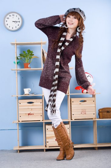 Korean Fashion Wholesale [D2-X820] Pretty Bow on back Long Sleeve Sweater- Coffee