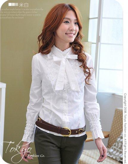 Korean Fashion Wholesale [B2-6259] Beautiful Lady Shirt - white