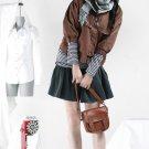 Korean Fashion Wholesale [B2-1609] SUPER Lovely Button-down Crop Jacket - Brown - Size S