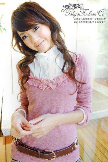 Korean Fashion Wholesale [B2-6267] SUPER Cute & Adorable Ruffle Shirt Knit Top - Pink