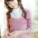 Korean Fashion Wholesale [B2-6267] SUPER Cute & Adorable Ruffle Shirt Knit Top - Pink
