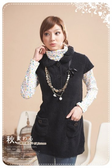 Korean Fashion Wholesale [B2-7447] Soft & Adorable Cashmere Warm Top/Dress - Black