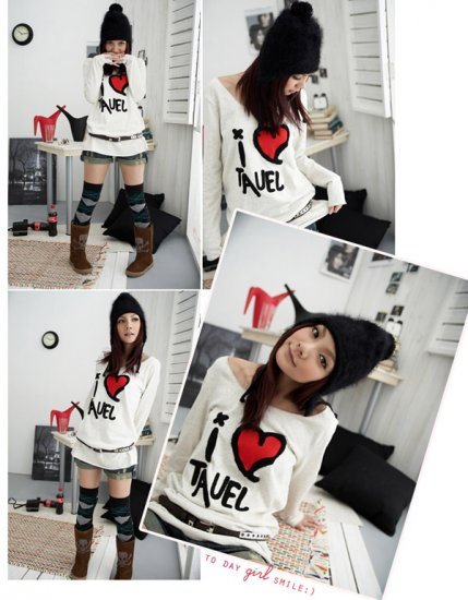 Korean Fashion Wholesale [C2-376] Soft & Sweet Love Off-Shoulder Sweater Top - white
