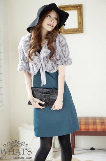 Korean Fashion Wholesale [B2-1599] Luxurious & Warm Lady Cropped Fur Jacket/Cardigan - Gray
