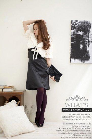 Korean Fashion Wholesale [B2-1599] Luxurious & Warm Lady Cropped Fur Jacket/Cardigan - Cream